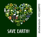 ecology icons in heart shape... | Shutterstock .eps vector #451168993
