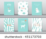 set of birthday cards poster... | Shutterstock .eps vector #451173703