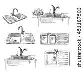 set of kitchen sinks. hand... | Shutterstock .eps vector #451187503