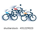three road cyclists stylized... | Shutterstock .eps vector #451229023