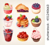 Set Of Colorful Desserts With...