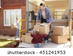 family unpacking moving in... | Shutterstock . vector #451241953