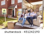 family with sofa on tail lift... | Shutterstock . vector #451242193
