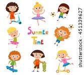 vector set of summer child's... | Shutterstock .eps vector #451339627