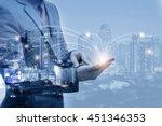 double exposure of businessmen... | Shutterstock . vector #451346353