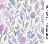 seamless watercolor floral... | Shutterstock . vector #451350787