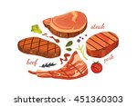 beef steak illustration set | Shutterstock . vector #451360303