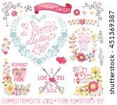 vintage floral card with floral ... | Shutterstock . vector #451369387