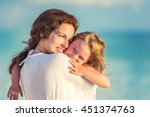 portrait of happy mother and... | Shutterstock . vector #451374763