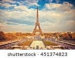 eiffel tower at summer sunny... | Shutterstock . vector #451374823