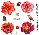 set of red flowers with... | Shutterstock . vector #451391857