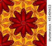 Five Red Petal Flower On Orang...