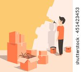 man paints the wall at home.... | Shutterstock .eps vector #451423453