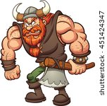 cartoon viking holding an axe.... | Shutterstock .eps vector #451424347