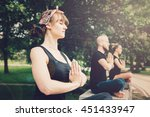 young yoga practitioners in...   Shutterstock . vector #451433947