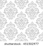Stock vector wallpaper in the style of baroque a seamless vector background gray and white texture floral 451502977