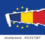 flag of romania under ripped... | Shutterstock .eps vector #451517287