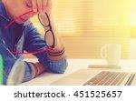 tired overworked businesswoman...   Shutterstock . vector #451525657