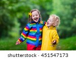 little boy and girl play in... | Shutterstock . vector #451547173