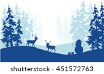 christmas scenery deer and... | Shutterstock .eps vector #451572763