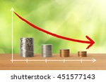 stacks of coins in a decrease... | Shutterstock . vector #451577143