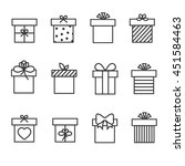 gift boxes thin line vector...