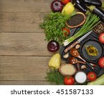 various vegetables and pan on a ... | Shutterstock . vector #451587133