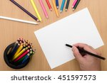 girl hand drawing  blank paper... | Shutterstock . vector #451597573