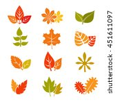 multicolor autumn leaves flat... | Shutterstock .eps vector #451611097