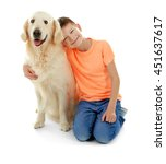 Stock photo small boy and cute dog isolated on white 451637617