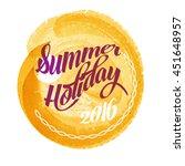 summer lettering on orange... | Shutterstock .eps vector #451648957