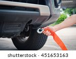 put towing car with towing rope ... | Shutterstock . vector #451653163