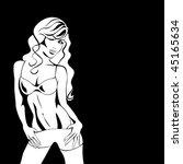 girl on black  vector | Shutterstock .eps vector #45165634