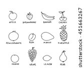 set graphic hand drawn fruits.... | Shutterstock . vector #451663267