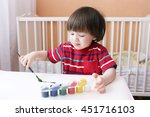lovely little 2 years boy with... | Shutterstock . vector #451716103