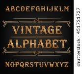 vintage alphabet vector font.... | Shutterstock .eps vector #451731727