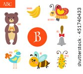 letter b. cartoon alphabet for... | Shutterstock .eps vector #451740433