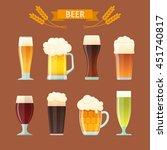 vector set of different beer... | Shutterstock .eps vector #451740817