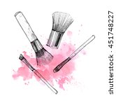 makeup brush with smear on... | Shutterstock . vector #451748227