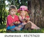 young children with raspberries ...   Shutterstock . vector #451757623