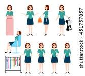 sales woman  shop assistant... | Shutterstock .eps vector #451757857