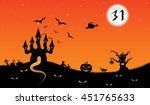 halloween midnight background. | Shutterstock . vector #451765633