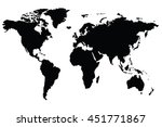 a world map is a map of most or ... | Shutterstock . vector #451771867