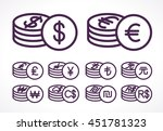 various currencies coins.... | Shutterstock .eps vector #451781323