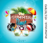 vector summer time holiday... | Shutterstock .eps vector #451787893