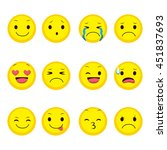 cute emoji collection of twelve ... | Shutterstock .eps vector #451837693