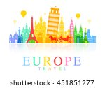 europe travel landmarks. vector ... | Shutterstock .eps vector #451851277