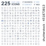 set vector line icons in flat... | Shutterstock .eps vector #451873813