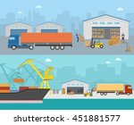 goods shipment panoramas with... | Shutterstock .eps vector #451881577
