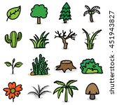trees  plants icons set ... | Shutterstock .eps vector #451943827